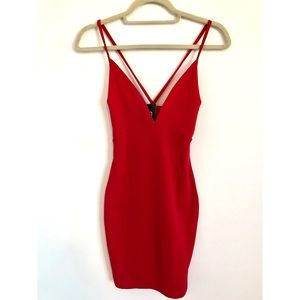 boohoo red plunge bodycon dress